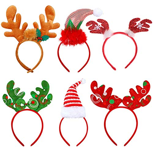 UGA Santa Hats (6 Pack), Christmas Party Hats Christmas Reindeer Costume Headbands for Christmas Holiday Party