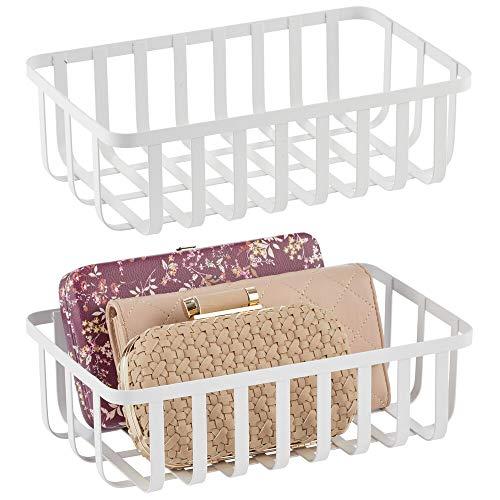 mDesign - Opbergmand - draadmand - voor keuken, kantoor, badkamer en hal - metaal - wit - per 2 stuks verpakt