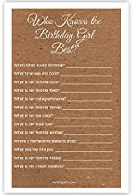 Birthday Party Game - Who Knows the Birthday Girl Best - Set of 30 - Kraft Texture