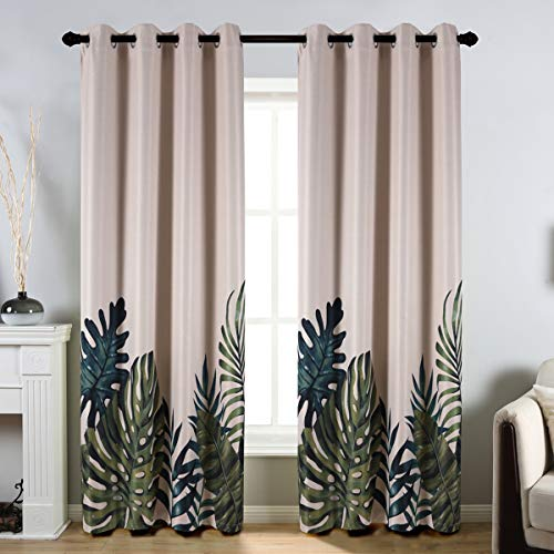 """Taisier Home Palm Leaves Print Exotic Style Nature Artwork,2 Panel Fashion Grommet Top Thermal Insulated Room Darkening Curtains,Printing Curtain Leaves(84"""" Print Curtain)"""