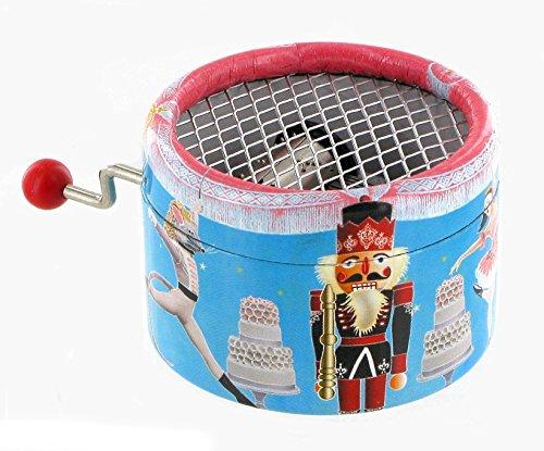 Runde Spieluhr / Spieldose / Musikdose mit Handkurbel aus Pappe - Der Nussknacker (P. I. Tchaïkovski)