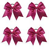CN 4Pcs 7' Glitter Red Cheer Bows With Ponytail Holder Girls Sparkle Cheer Bow
