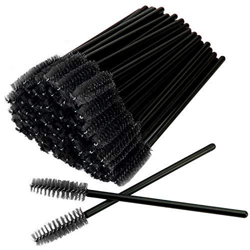GreenLife® 50 pcs/100 pcs/150 pcs/200 pcs/300 pcs/400 pcs/600 pcs/800 pcs Eyelash Brush Mascara Wands Applicator (50pcs, Black-Black)
