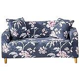 Funda para sofá con diseño moderno de 1/2/3/4 plazas, antideslizante, funda elástica para sofá y protector para mascotas, lona, Peonía-gris oscuro, 4 Seater Slipcover+1pcs Pillowcase
