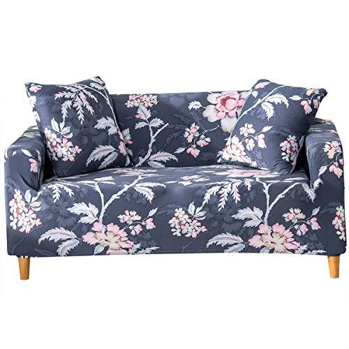Funda para sofá con diseño moderno de 1/2/3/4 plazas, antideslizante, funda elástica para sofá y protector para mascotas, lona, Peonía-gris oscuro, 3 Seater Slipcover+1pcs Pillowcase