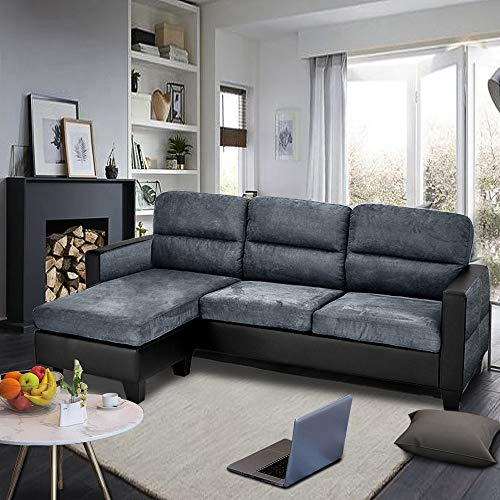 Modern 3 Seater Sofa Faux Leather and Fabric Corner Sofa L Shaped Morden Sofa Couch Settee Left & Right Hand Side Sofa with Footstool (Dark Gray + Dark Gray and Black Armrest)