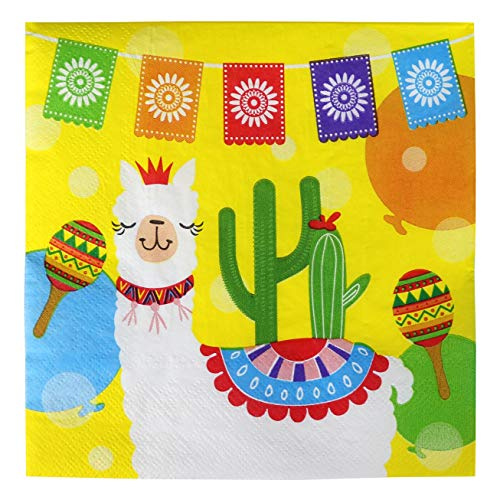 Iconikal Disposable Dinner Paper Party Napkins Fiesta Llama 75Count