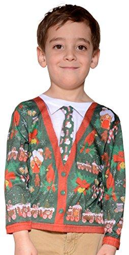 Pequeños camisetas Faux Bienes Toddlers Ugly Navidad Cardigan de vestuario (2-3 años)
