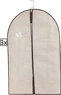 Kit 3 Capa Protetora Tnt Roupa Terno Vestido Zíper Closet 60cm x 100cm (Creme)