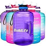 BuildLife Botella de agua motivacional de 2,2 l, boca ancha con pajita y tiempo marcado para beber...