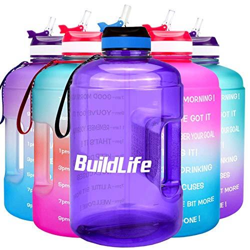 BuildLife Botella de agua motivacional de 3,78 l/2,2 l, boca ancha con pajita y tiempo marcado para beber más diariamente, sin BPA, reutilizable, para gimnasio 2.2L