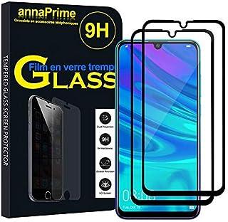 annaPrime skyddsfilm skärm för Huawei P Smart + (2019)/P Smart Plus 2019 6,21 tum – 2 filmer hårt glas svart