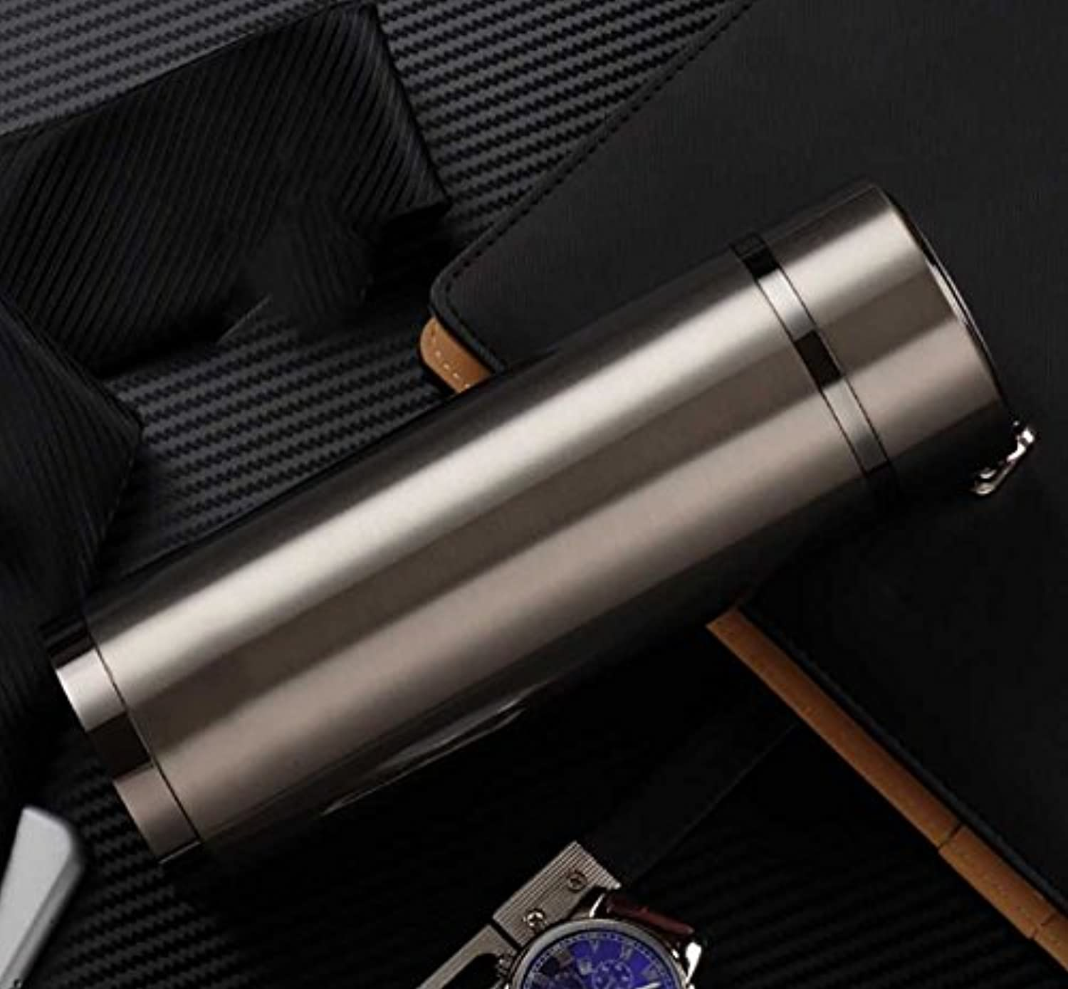 Newness World Stainless Steel Vacuum Cup Insulated Stainless Steel Water Bottle for Sports Camping,1pc(Silver Pattern 2)