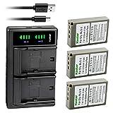 Kastar 3X BLS-5 PS-BLS5 BLS-50 Battery and LTD2 USB Charger Replacement for Olympus E-400, E-410, E-420, E-450, E-600, E-620, E-P1, E-P2, E-P3, E-PL1, E-PL1s, E-PL2, E-PL3, E-PL5, E-PL6, E-PL7, E-PL8