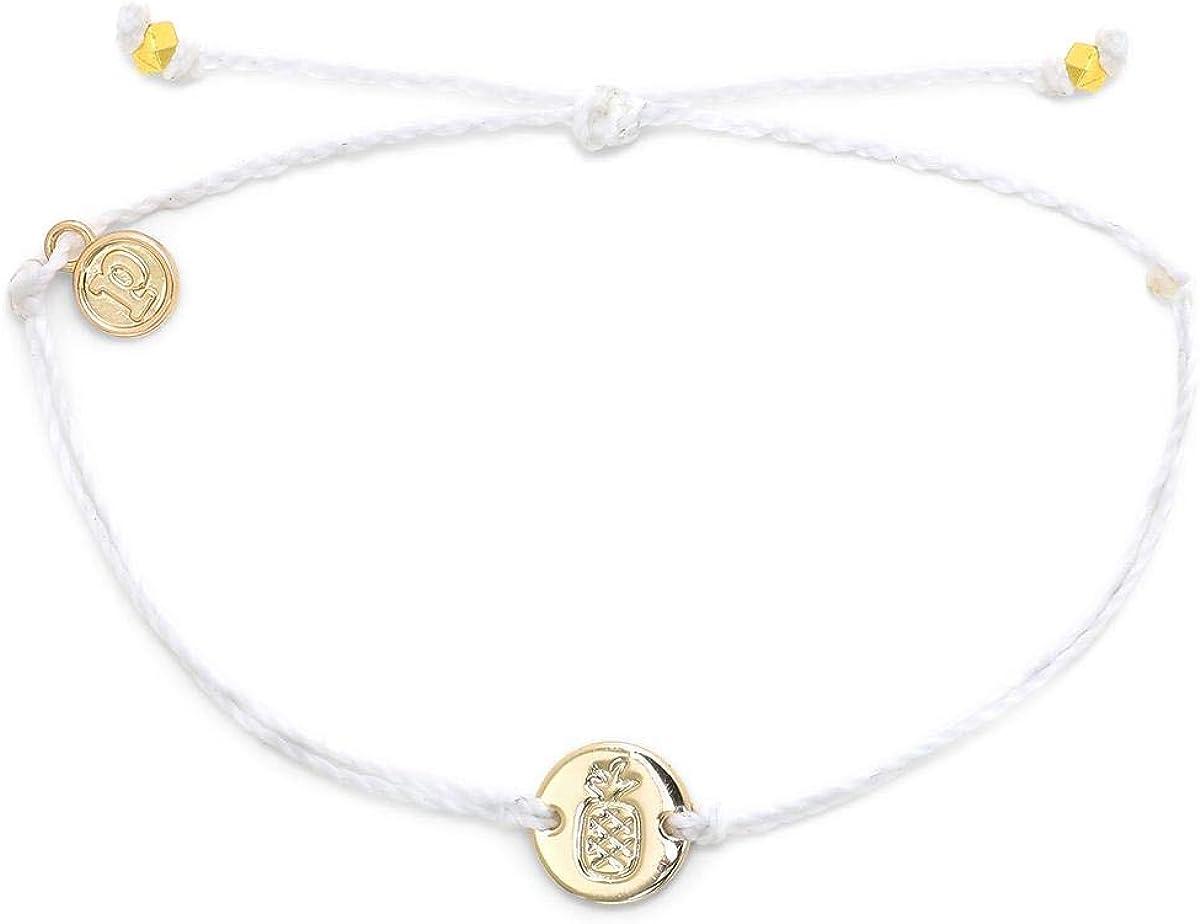 Pura Vida Silver Pineapple Coin Charm Bracelet - Plated Charm, Adjustable Band - Waterproof - White