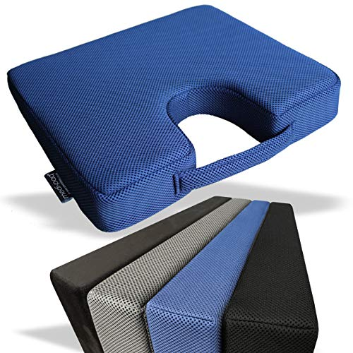 Medipaq - Memory Foam Wedge Cushion with COCCYX CUT OUT for Back Support, Posture Correction, Pain Relief and Height Boost - Orthopaedic Seat Pad - Washable, Breathable 3d Mesh Cover - Anti Slip Bottom - Blue