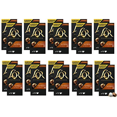 L'OR Espresso Café Lungo Estremo Intensidad 10 – Cápsulas de Aluminio Compatibles con Máquinas Nespresso (R)* - 20 paquetes de 10 cápsulas (200 bebidas)