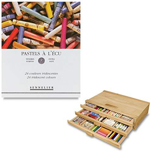 Sennelier Artist Pastel Set - Extra Soft Half Stick Pastels with High Vibrancy & Brightness w/ 3 Drawer Wood Storage Box - Landscape Set - Set of 80