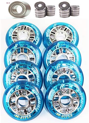 Hyper 4-8er Set NX 360 Rolle 80mm 84a Speed Inliner Skates Op. Kugellager ABEC 9 für div. Skate K2 Rollerblade Salomon Fila (8er Set Rollen + 16x KugellagerABEC9)