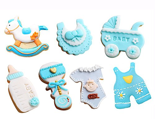 JUMUU Baby Shower Theme Buggy Rocking Horse Bottle Cookie Cutter (7 Piece Set)