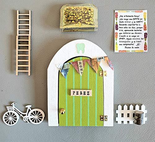 Puerta Ratoncito Perez que SE ABRE!! de madera (TALLER ARTESANAL) con accesorios * verde *