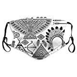 2021 Trends Tribal,Feather Head Band Teepee Tent Bow and Arrow Art Print,Black and White,Reusable Face Mask Balaclava Washable Outdoor Nose Mouth Cover for Men and Women