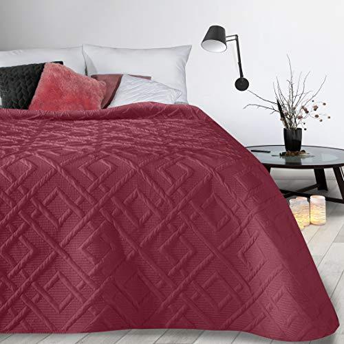 Design91 Tagesdecke Alara Gesteppter Bettüberwurf Einfarbig Steppung 3D Geometrisches Muster Ganzjährig (Dunkelrot 2, 230 x 260 cm)