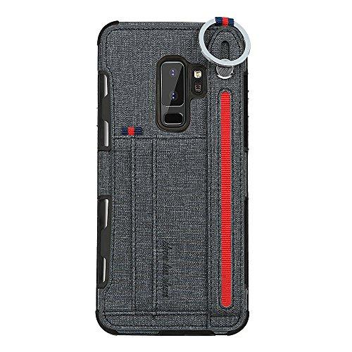 14chvily Für Samsung Galaxy S9 Hülle Galaxy S9 Plus Premium Leder PU Handyhülle 360-Grad-Schutz Shockproof Handytasche Kredit Kartenfächer Geldklammer (Schwarz, Galaxy S9)