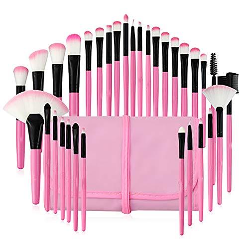 Maquillage Pinceaux, Professionnel 32Pcs Pinceau De Maquillage Set Maquillage Beauté Outils De Beauté Cosmétiques Fournitures Pour Brosse Fondation Kabuki Fard À Joues Blending Fard À Paupières,Rose