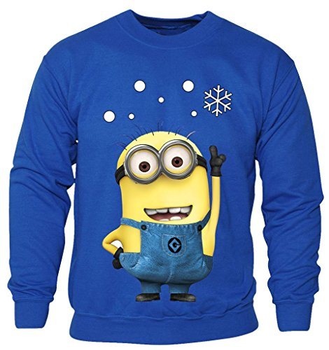 New Kids Childrens Boys Girls Minions Cartoon Movie Character Christmas Sweatshirt Jumpers 2-14 Years (Kids 3-4 Years) Royal Blue