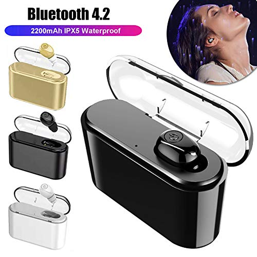 1Pc Bluetooth V4.2 Earphones,Noise Isolation Stylish Ergonomic in-Ear Ear Bud with Charge Box, for Workout, Running, Jogging