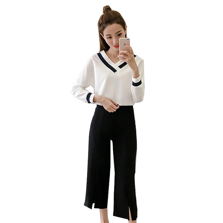 [美しいです] レディース セット ブラウス Vネック ズボン ワイドパンツ 春 夏 ショット丈 ゆったり上着 シフォン 七分袖 シースルー フォーマル
