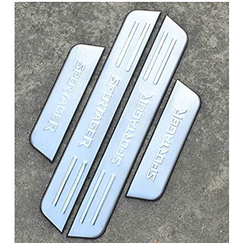 N/A 4 Pezzi Soglia Porta Battitacco, per KIA Sportage R 2011-2015 Auto Pedale Calci Scuff Benvenuto Threshold Bar Striscia Protezione Accessori Decorativi, Acciaio Inossidabile