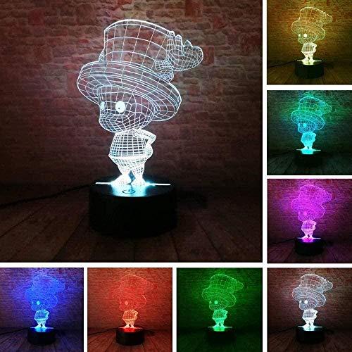XZHYMJ 3D Illusionslampe Led Nachtlicht Nacht One Piece Tony Chopper Figur Dekor Geschenke Cartoon Spielzeug Affe Ruffy Tischlampe Nachttisch Weihnachten Geburtstag