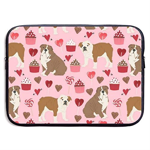 Best Love Cupcakes and Sweets Bulldogs 13/15 Inch Laptop Sleeve Bag for MacBook Air 11 13 15 Pro 13.3 15.4 Portable Zipper Laptop Bag Tablet Bag,Water Resistant,Black