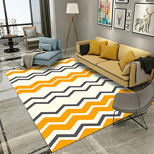 Bedroom Rugs, 4'x 6' YAMTION Modern Multi-Function Area Rugs Collection, Non Slip Abstract Wave Yellow Soft Shaggy Carpet, Indoor Living Room Rugs in Nursery, Dining Room, Office, Dormitory