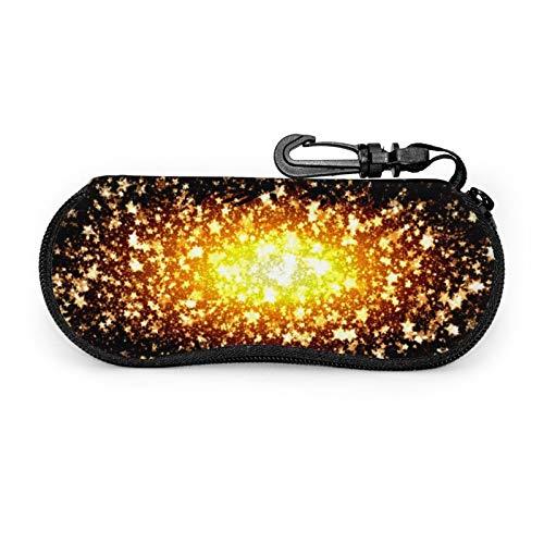 Universe Star Space Sky Cosmos - Funda protectora para gafas de viaje portátil con cremallera de neopreno suave para gafas con cremallera y gancho para cinturón