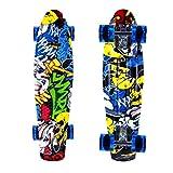 ENKEEO 57cm Fish Board Mini Cruiser Skateboard 4 PU Ruote per Principiante Bambini, Giovani e Adulti,...