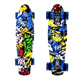 ENKEEO Monopatín Skateboards Retro Crucero (22 Pulgadas, 4 PU Ruedas traslúcidas, Tabla de plástico Reforzado, rodamiento ABEC-7)