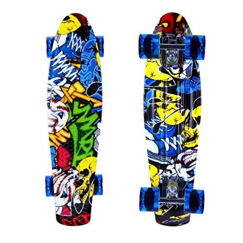 ENKEEO 57cm Fish Board Mini Cruiser Skateboard 4 PU Ruote per Principiante Bambini, Giovani e Adulti, Burlone