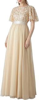 Ever-Pretty Abiti da Cerimonia Stile Impero Maniche Corte Linea ad A Elegante Scollo a Rotondo Donna Tulle 00904