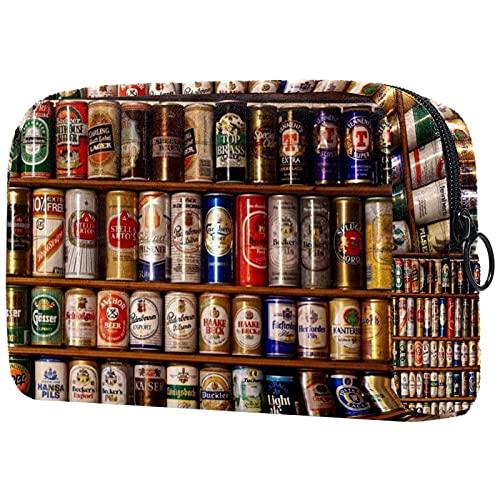 Bolsa para Cosméticos Lata de Cerveza de Metal Bolsas de Maquillaje de Viaje Portátil Neceser de Maquillajepara para Mujeres niñas 18.5x7.5x13cm