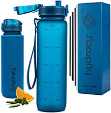 Hydracy Water Bottle with Time Marker -Large 1 Liter 32oz BPA Free Water Bottle -Leak Proof & No Sweat Gym Bottle with Fruit Infuser Strainer -Ideal Gift for Fitness, Sports & Outdoors -Midnight Blue