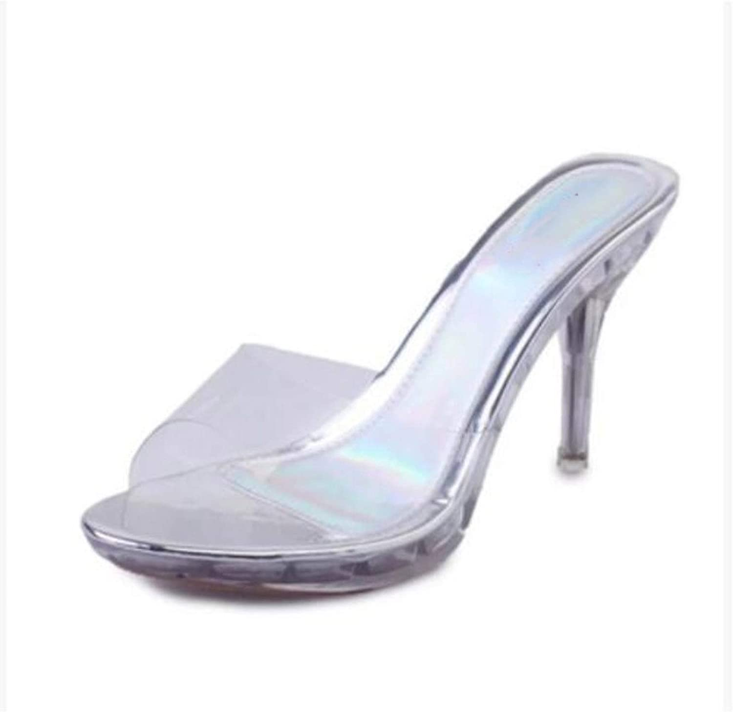 Girls Summer Style Word Dragging Korean Slippers with Thin High-Heeled shoes Sandals Transparent Adhesive