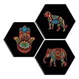 SAF Set of 3 Hexagon modern art High quality MDF Board UV Textured Painting 17 Inch X 17 Inch SANFHXS30411