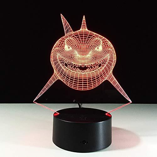 Feroce pesce squalo Lampada 3D a LED Luce USB LED Mondo subacqueo Scrivania per animali domestici Tavolo da notte Illuminazione Giocattoli per bambini Regalo