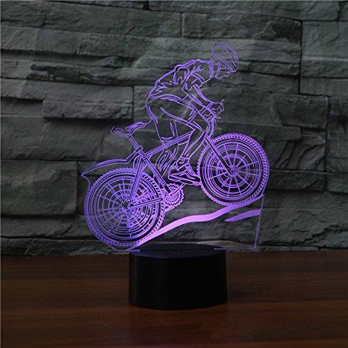 Luz de noche 3d, lámpara de noche, ejercicio de bicicleta Lámpara 3d 7 ciclos de color Lámparas de noche led para niños Touch Led Usb Table Baby Sleeping Night Light