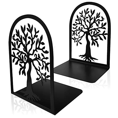 Cookbook Bookends, Tree Bird Metal Decorative Book Ends Support for Shelves, Non Skid Heavy Duty Modern Functional Kitchen Book Stoppers Housewarming Gift (1 Pairs)