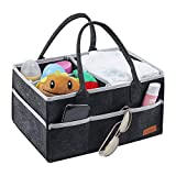 Baby Diaper Caddy Organizer, Portable Nursery Storage Bin Felt Basket with Multi Pockets and Changeable Compartments, Baby Wipes Bag Nappy Storage Bags for Child(Deep Grey)