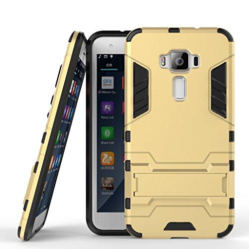 Handyhülle für Asus Zenfone 3 ZE520KL Hülle Schale Tasche, Ougger Extreme Schutz [Kickstand] Leicht Armor Schutz SchutzHülle Hart PC + Soft TPU Gummi 2in1 Rear für ZE520KL Gold